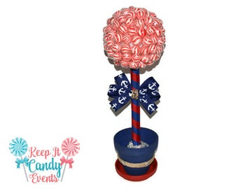 Nautical Themed Lollipop topiary, Wrapped Lollipops, 17 inches tall, Nautical Theme, Nautical Candy, Anchor Decor, Beach Wedding Ideas