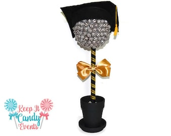 Large Lollipop Graduation Topiary, Candy, Lollipop Grad Centerpiece, Graduation Party Candy Buffet, Grad Party Decor, High School Graduation