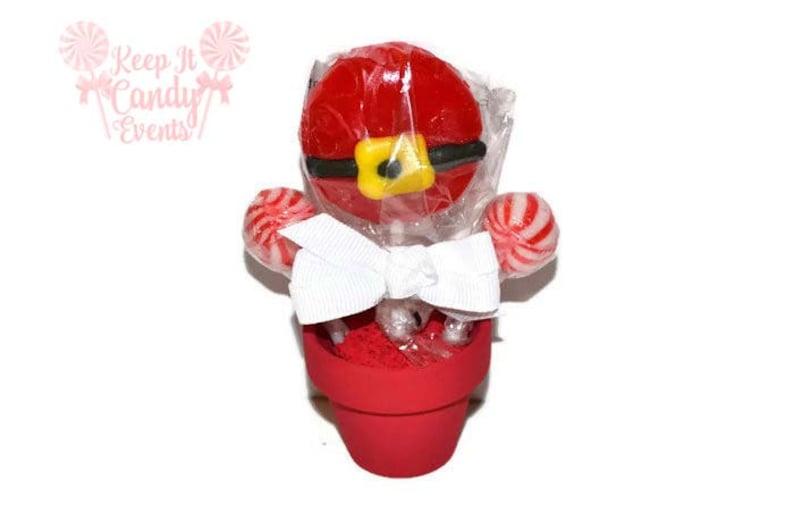 Santa Themed Mini Lollipop Arrangement  Christmas Gift image 0