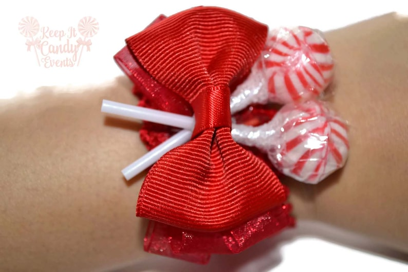 Red Lollipop Wrist Corsage Red Corsage Candy Corsage Red image 0