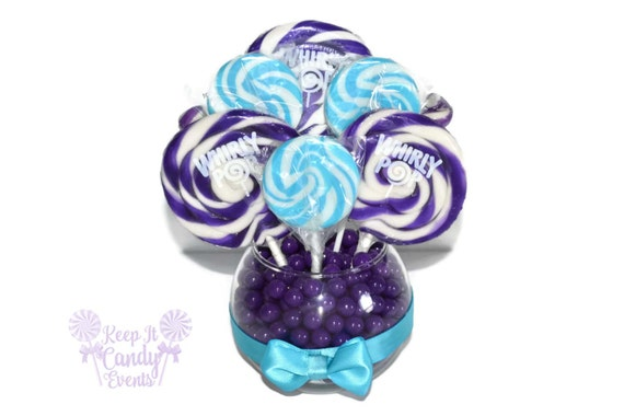 Small Purple And Turquoise Lollipop Centerpiece Purple And Etsy