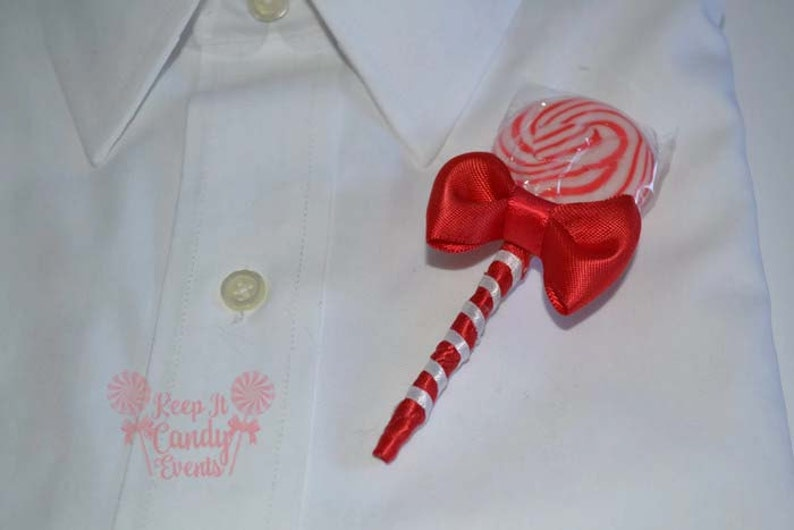 Red Lollipop Candy Boutonniere Red Wedding Red Boutonniere image 0