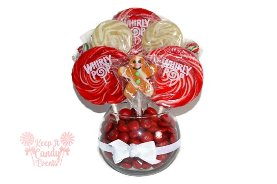 Small Gingerbread Man Lollipop Centerpiece, Christmas Centerpiece, Lollipop  Centerpiece, Hostess Gift, Christmas Table, Candy