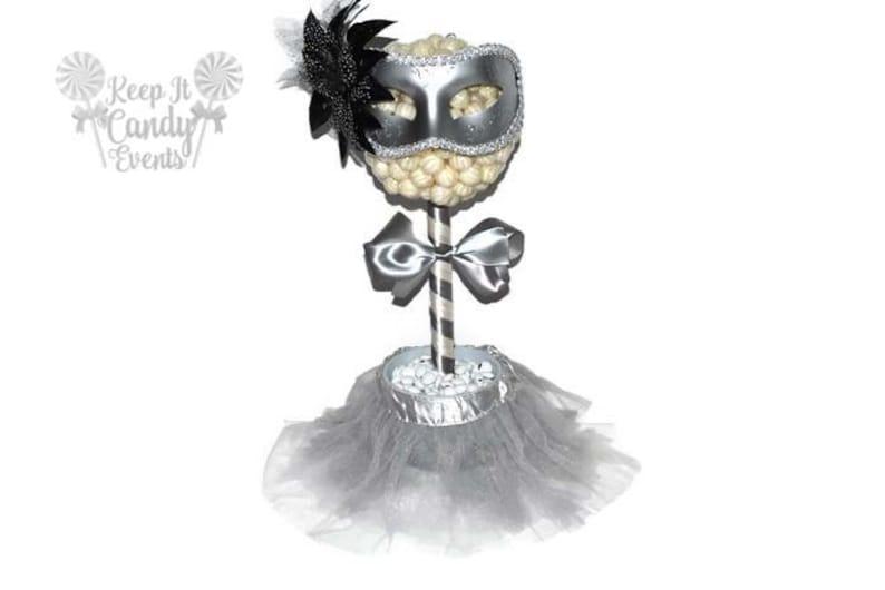 Silver and White Masquerade Ball Lollipop Topiary Masquerade image 0