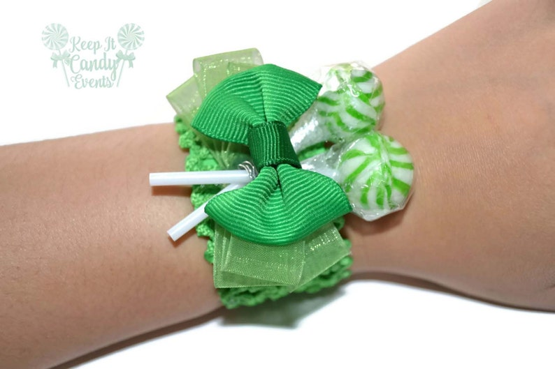 Green Lollipop Wrist Corsage Green Unique Prom Homecoming image 0