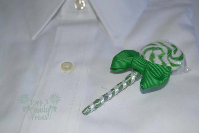 Green Lollipop Candy Boutonniere Green Boutonniere Green image 0