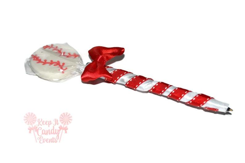 Baseball Lollipop Pen Baseball Candy Pen Baseball Party image 0