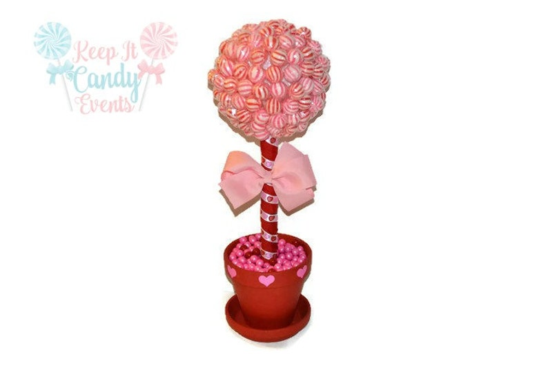 Valentines Day Lollipop Topiary Red Pink Candy Topiary image 0