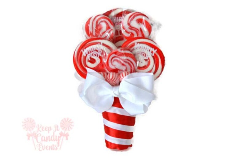 Small Red Lollipop Bouquet Red Candy Bouquet December image 0