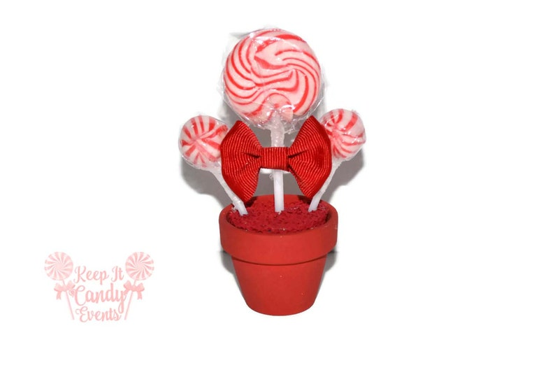 Red Mini Lollipop Arrangement Red Candy Favor Wedding Favor image 0