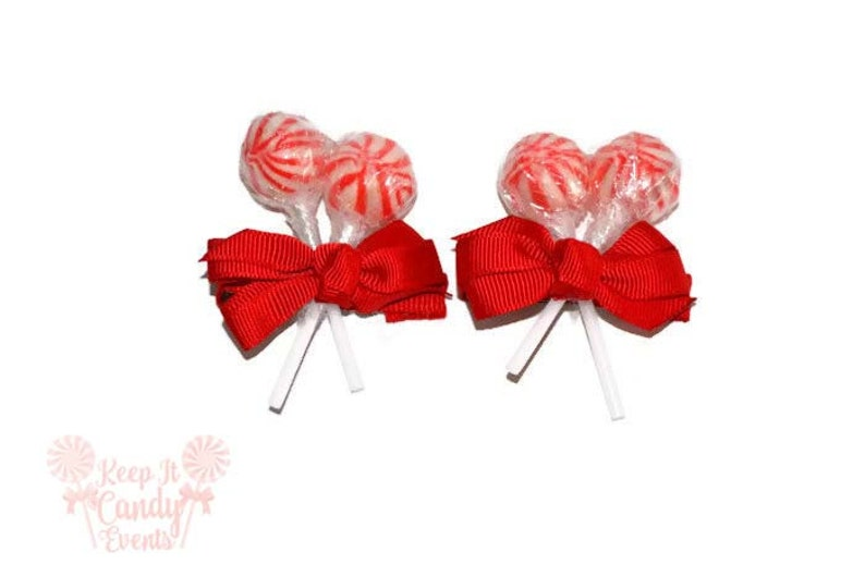 Red Lollipop Hair Clips Christmas Wedding Christmas image 0