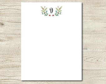 custom stationery, floral and intitial note card