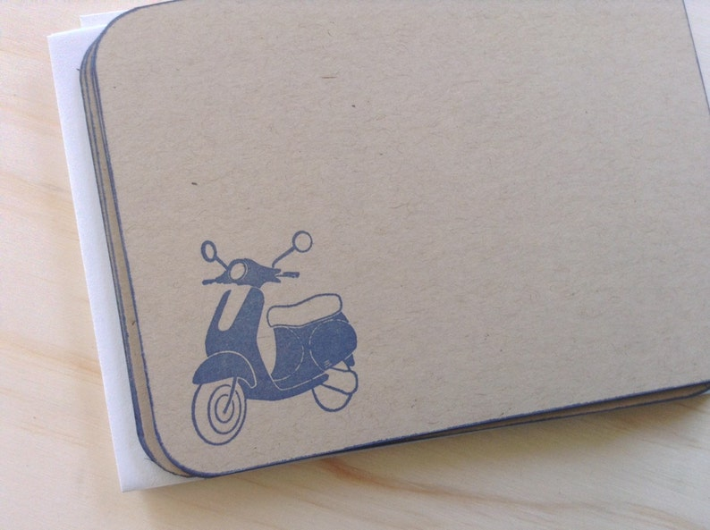 retro mopedscootervespa stationery set vintage inspired flat note cards and envelopes set of 10.