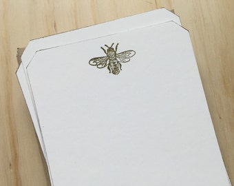 bee stationery set, vintage inspired flat note cards and envelopes, bee note cards, set of 10