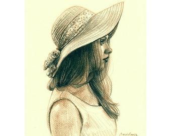 Sepia portrait sketch, original drawing gift