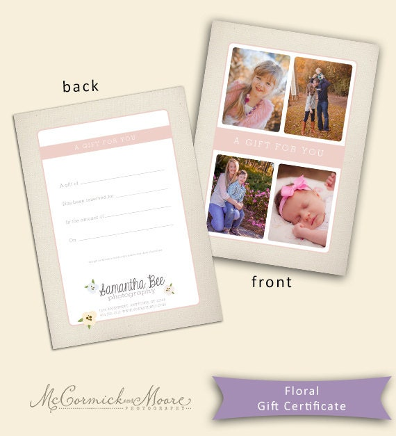 Floral Gift Certificate Template Photography Gift Etsy