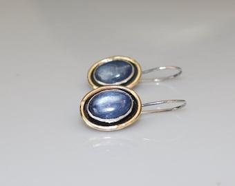 denim blue gemstone earrings - mixed metal earrings - kyanite earrings - blue earrings - silver gold earrings - rustic oxidized earrings