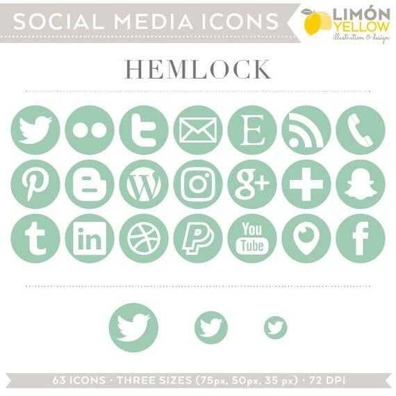Social Media Icons Pastel Green Mint Hemlock Instant Etsy