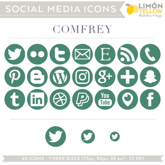 Social Media Icons Dark Green Comfrey Instant Download Etsy