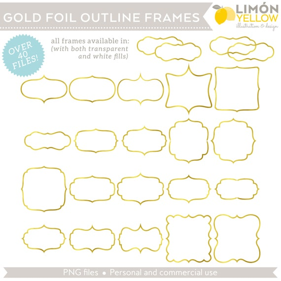 Digital Printable Frames Tags Gold Foil Outline Bracket | Etsy