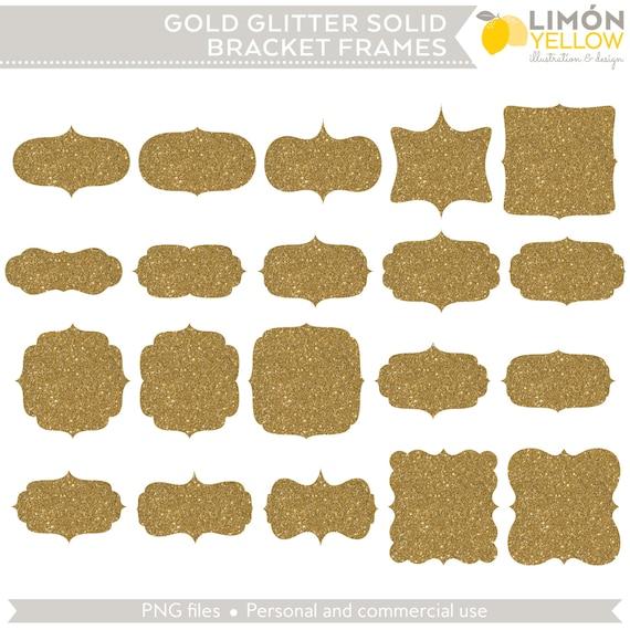 Digital Printable Frames Tags Gold Glitter Solid Bracket | Etsy