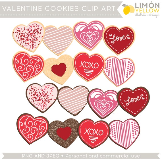 Valentine S Day Clipart Valentine S Cookies Clip Art Etsy