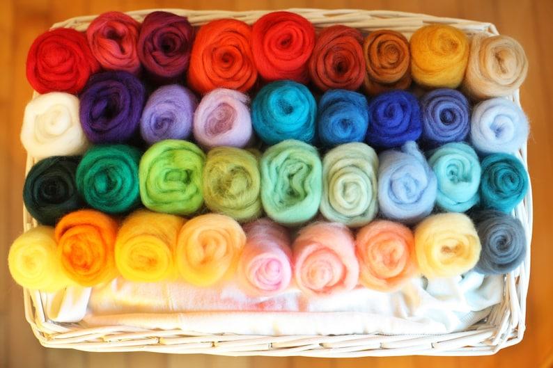 36 Colours 180g Felting Wool Needle Felting Wool Platter image 0