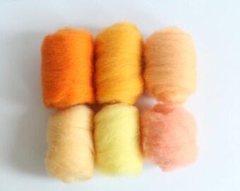 Needle Felting  Wool Roving Pack for Felting and Spinning - Set of Orange