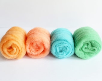 Felting  Wool Pack for Needle Felting and Spinning - Set of Mint - Wool Roving for Felting - WOOL FROM SPAIN - Pastel Colour