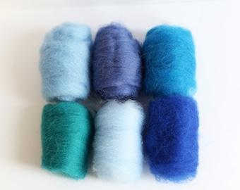 Felting Wool - Needle Felt Wool Roving Pack for Needle Felting and Spinning - Set of Blue
