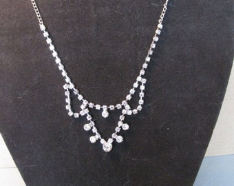 Vintage Crystal Necklace, Chandelier Style, Choker, Collectible Jewelry