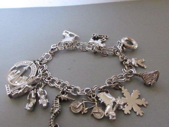 Vintage Bracelet, Charm Bracelet, Twelve Charms, S
