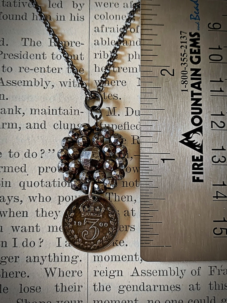 Victoria three pence coin and cut steel button necklace