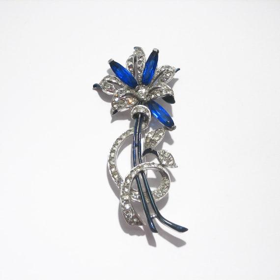 Enameled Flower Pin/TRIFARI, 1930s, USA // Retro B