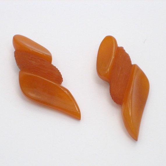 Orange Bakelite Dress Clips,1930s, USA