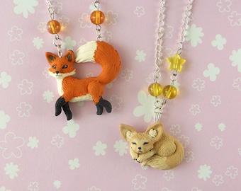 Red Fox and Fennec Necklace - Fox Jewelry - Fennec Necklace - Fox Necklace - Fennec Jewelry - Polymer Clay Jewelry
