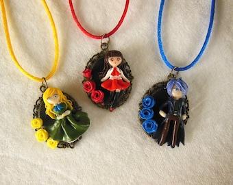 Ib Cameo Polymer Clay Jewelry - Ib Necklace - Ib Jewelry - Video Game Jewelry - Video Game Necklace