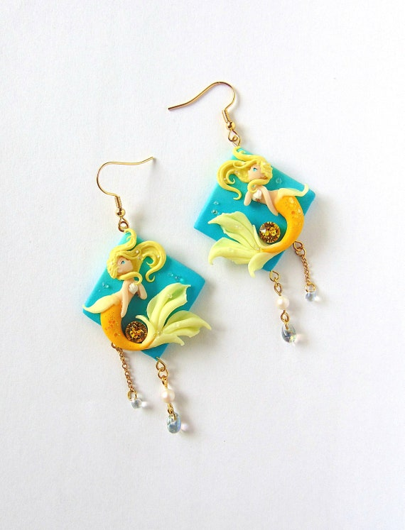 Fantasy Jewelry White Blue Statement Mermaid Earrings