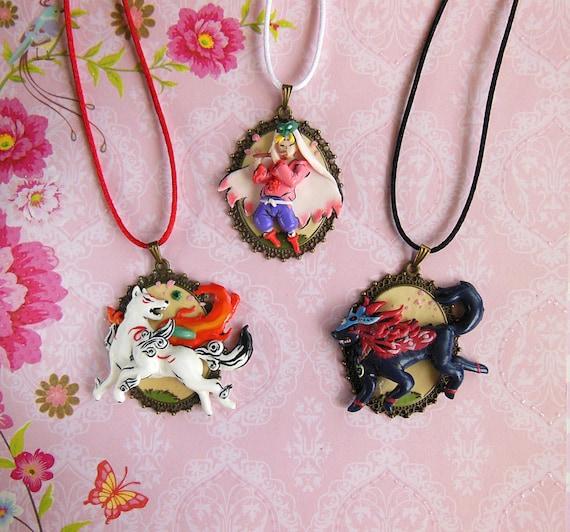 Cameo clay necklace