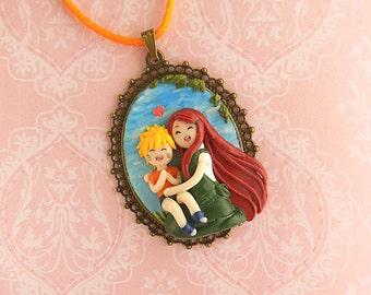 Naruto and Kushina Motherlove Cameo - Mothers Day Gift - Polymer Clay Jewelry - Kawaii Jewelry