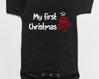 My first Christmas baby bodysuit romper black