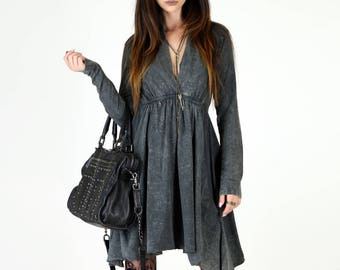 Long Sleeve Grecian Goddess Pocket Dress - Black