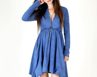 Long Sleeve Grecian Goddess Pocket Dress - Blue