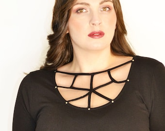 Criss Cross Spider Web Studded Tunic Top