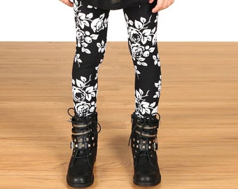 SALE !!!!!Kids/Girls Grunge 90's Black and White Floral Leggings
