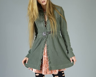 Sgt. Pepper Thermal Boho Jacket, Olive Green