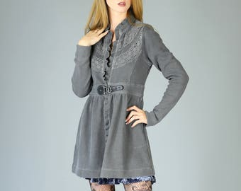 Sgt. Pepper Thermal Boho Jacket, Charcoal Gray