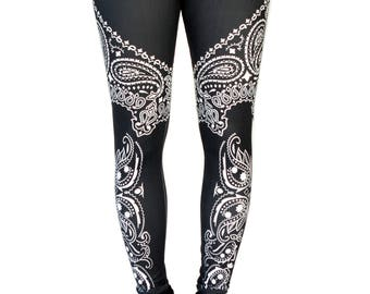 Grunge Black & White Bandana Printed Leggings