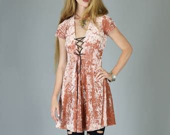 Corset Neck Crushed Velvet Babydoll dress, Dusty Pink