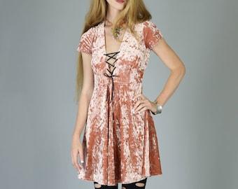 Corset Neck Crushed Velvet Babydoll dress, Dusty Pink